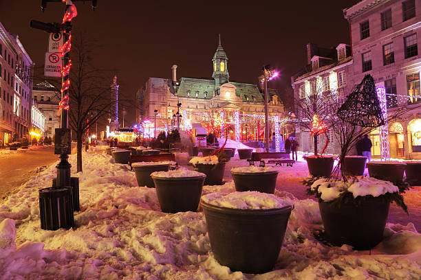 Place Jacques-Cartier in Montreal during Winter stock photo