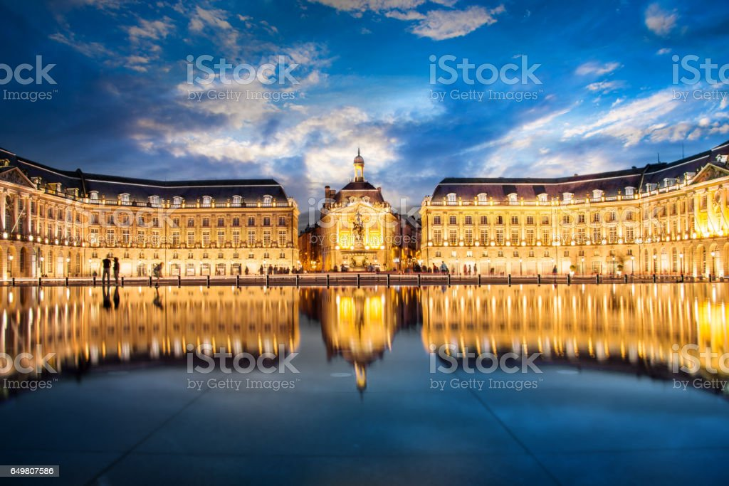 Place la Bourse in Bordeaux, the water mirror by night, France stock photo