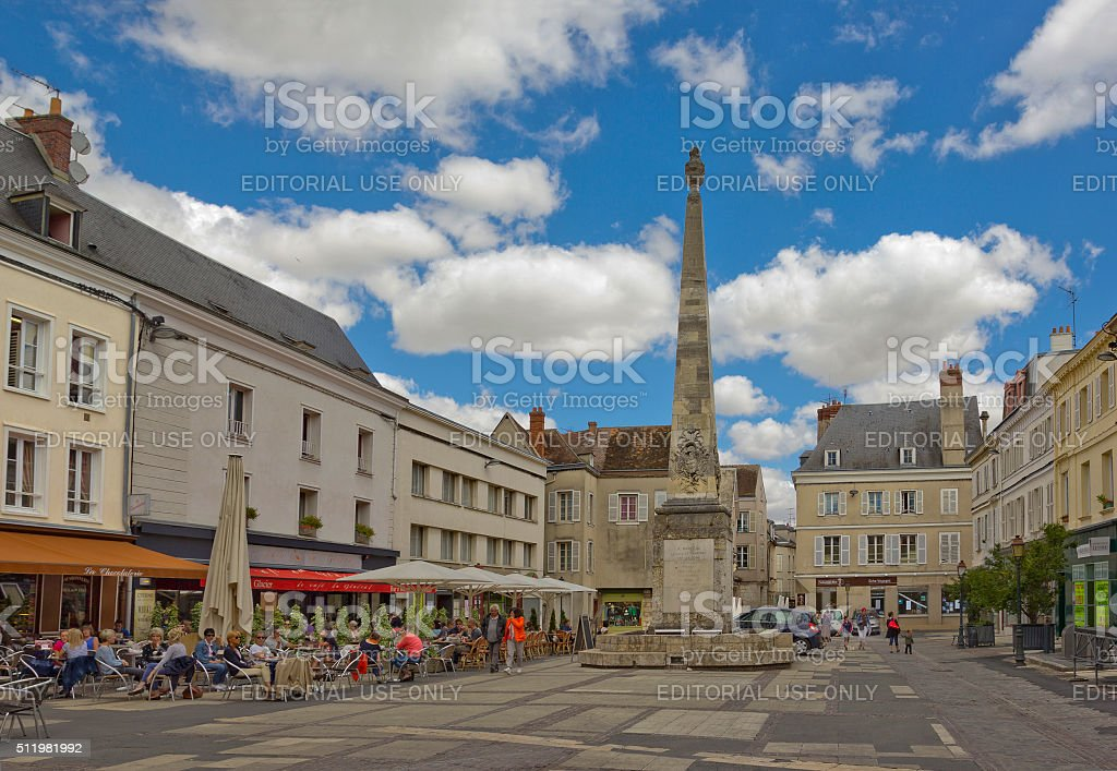 Place Marceau with Colonne Marceau in Chartres, France stock photo