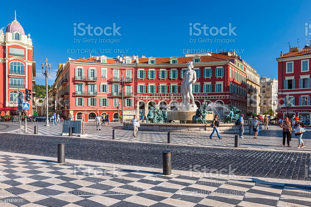 Place Massena with Fountain of the Sun in Nice stock photo