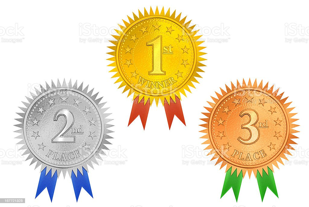 Place Medals 3D (XXL Clip Path) royalty-free stock photo