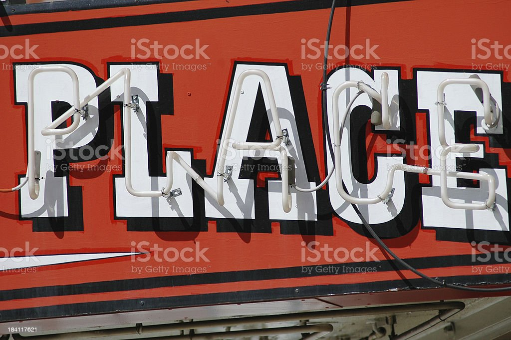 Place Neon Sign royalty-free stock photo