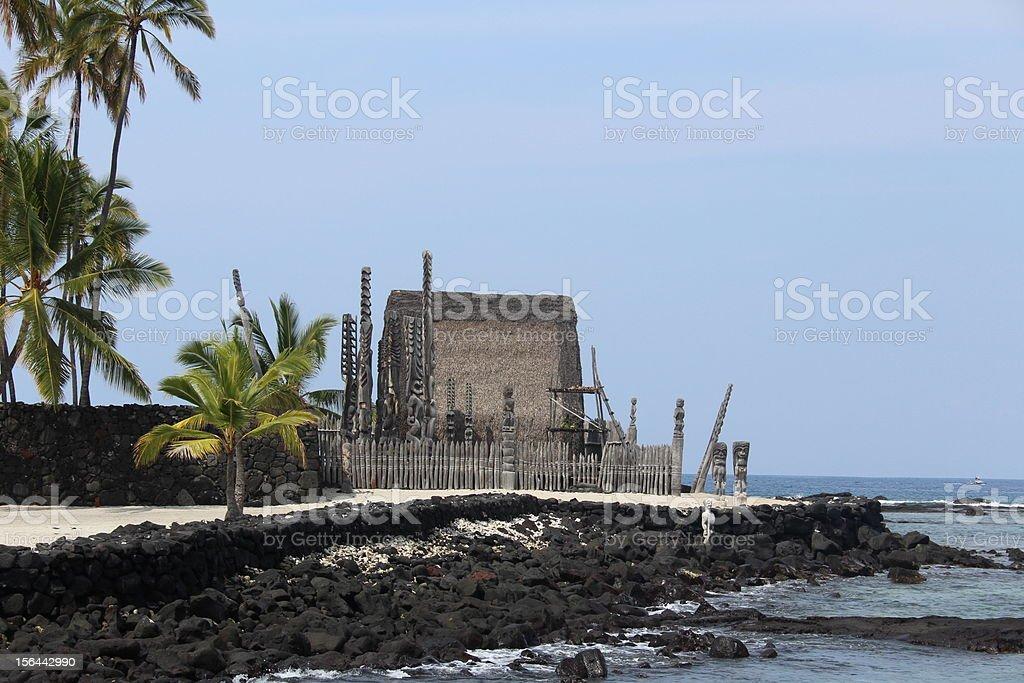 Place of Refuge on Hawaii Big Island stock photo