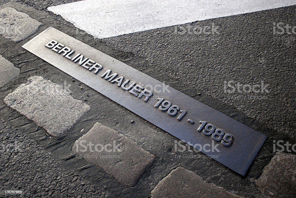Place of the Berlin wall until 1989 stock photo