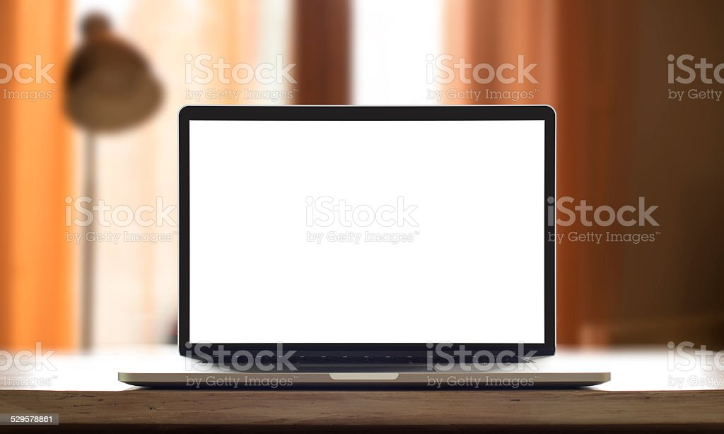 Place of work with laptop or notebook stock photo