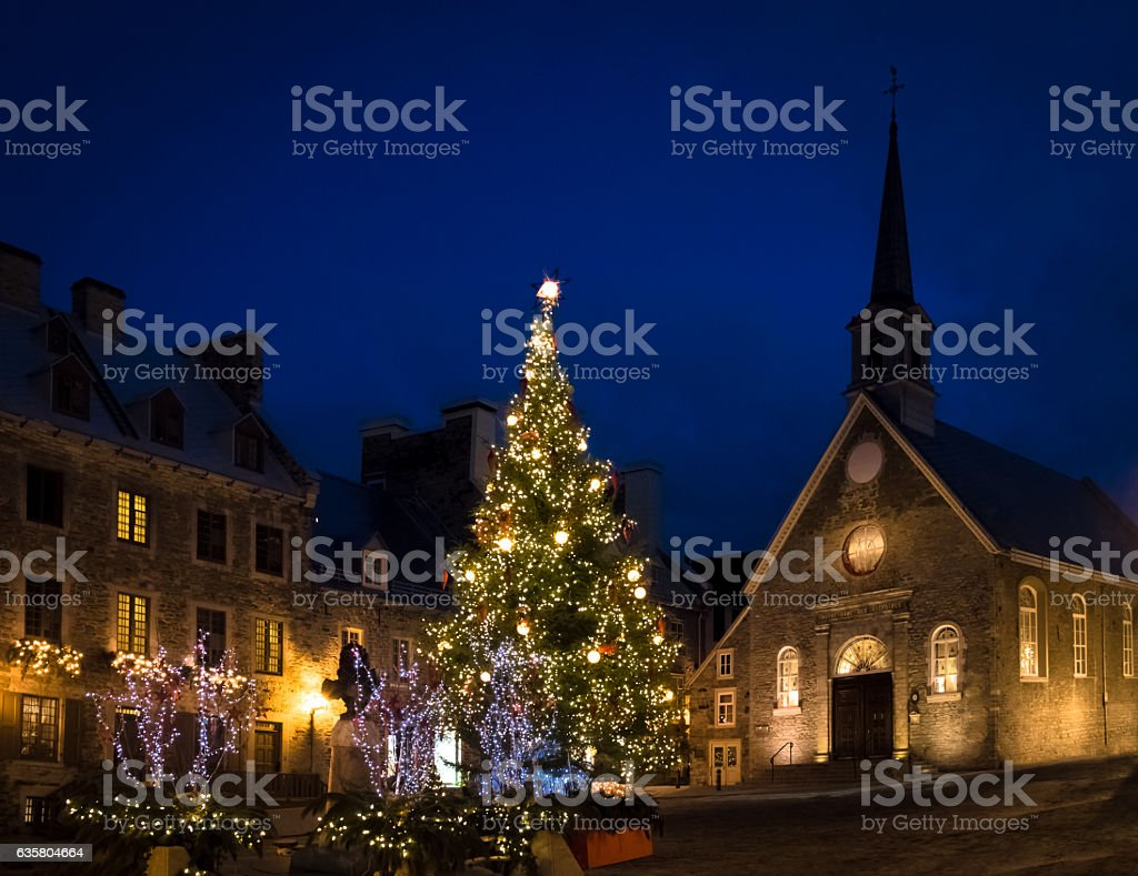 Place Royale decorated for Christmas - Quebec City, Canada stock photo