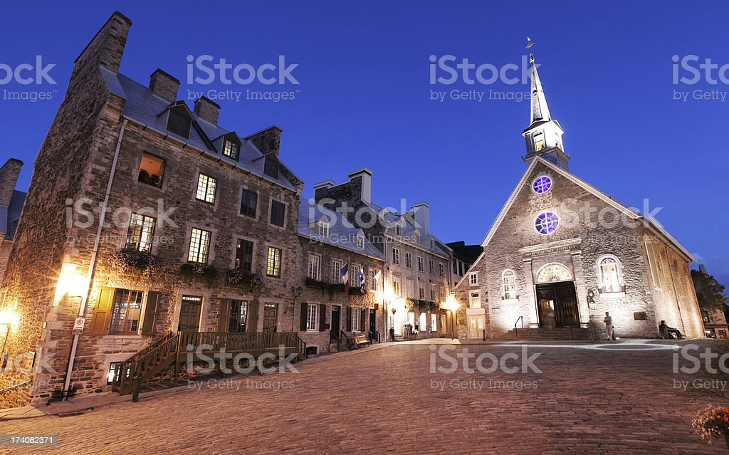 Place Royale in Lower Old Quebec City at Night stock photo