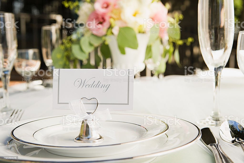 Place setting at a wedding stock photo