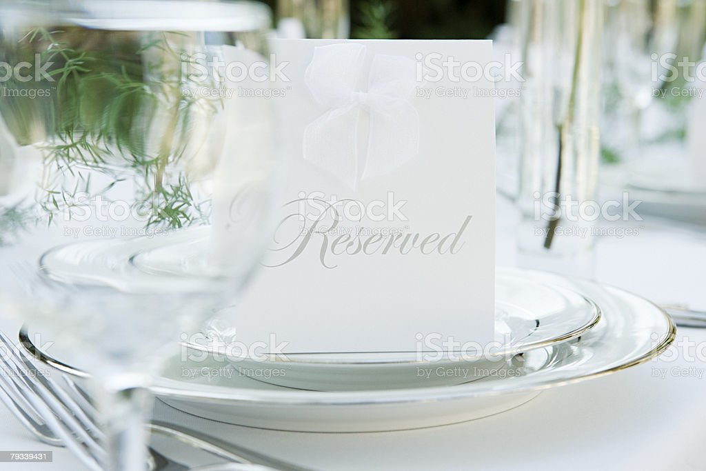 Place setting at a wedding 免版稅 stock photo