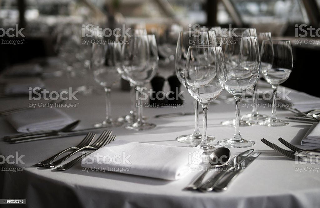 Place Setting at Table stock photo