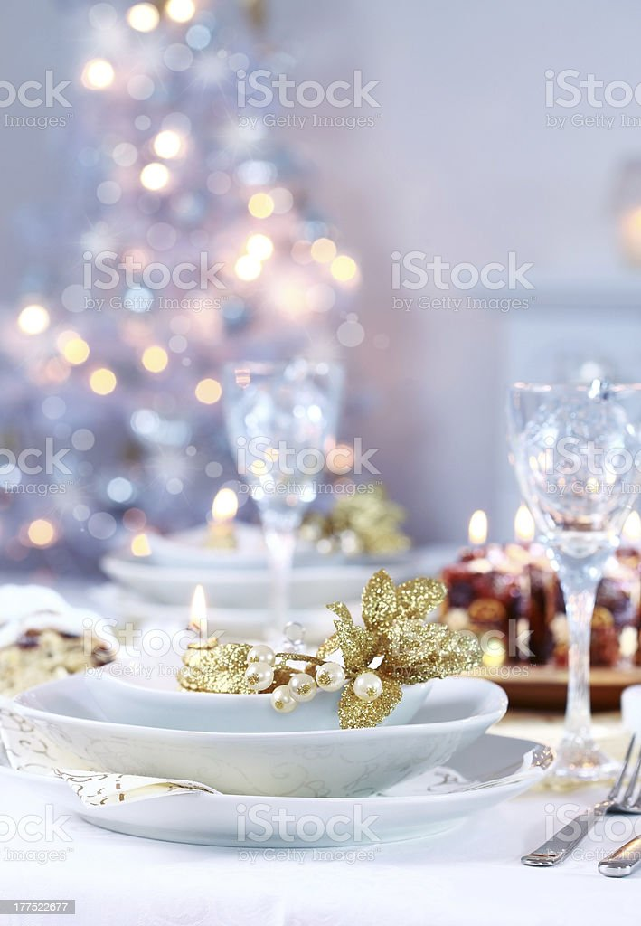 Place setting for Christmas stock photo