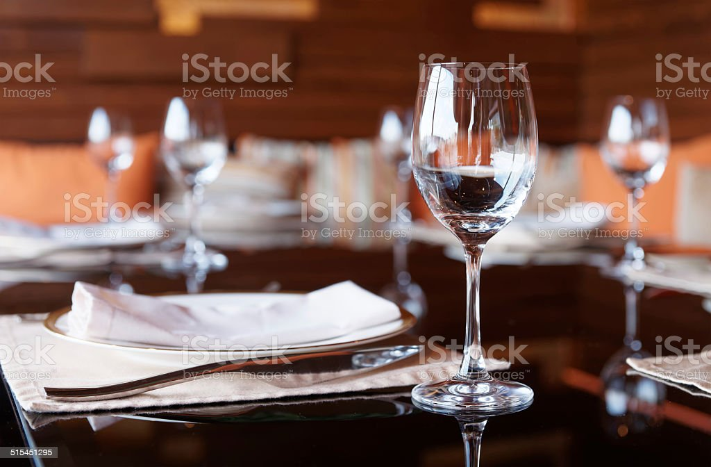 Place setting in a restaurant stock photo
