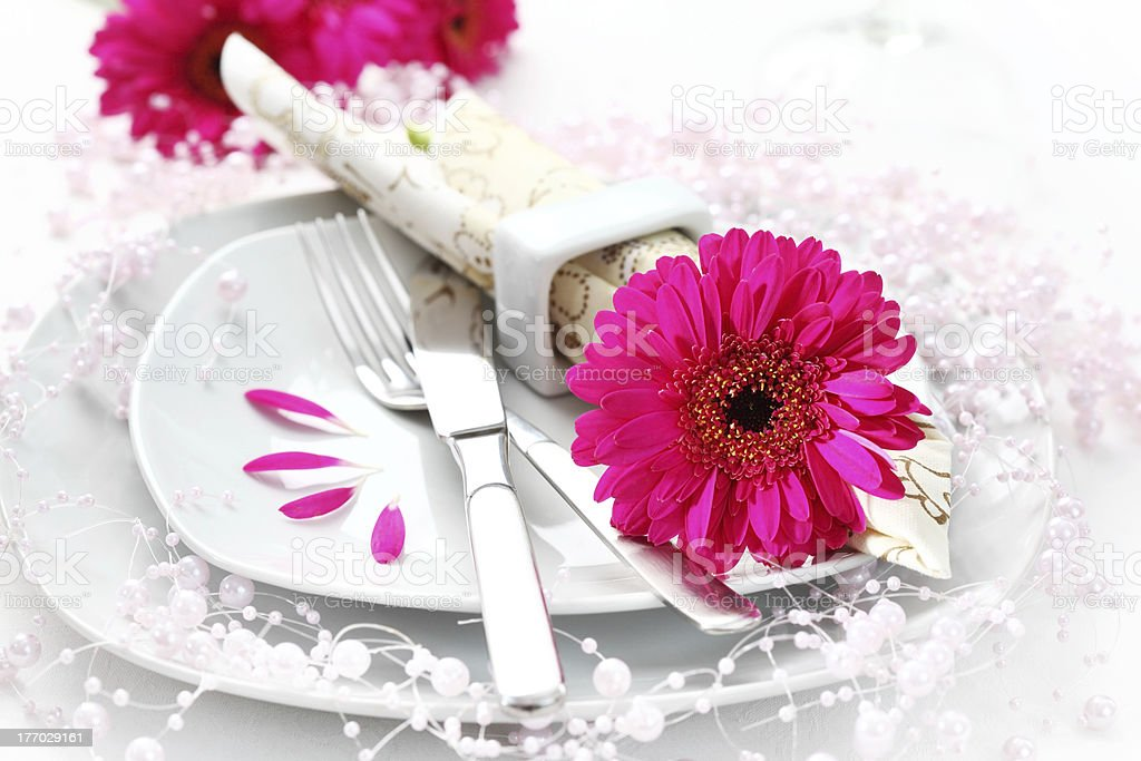 Place setting in pink royalty-free stock photo