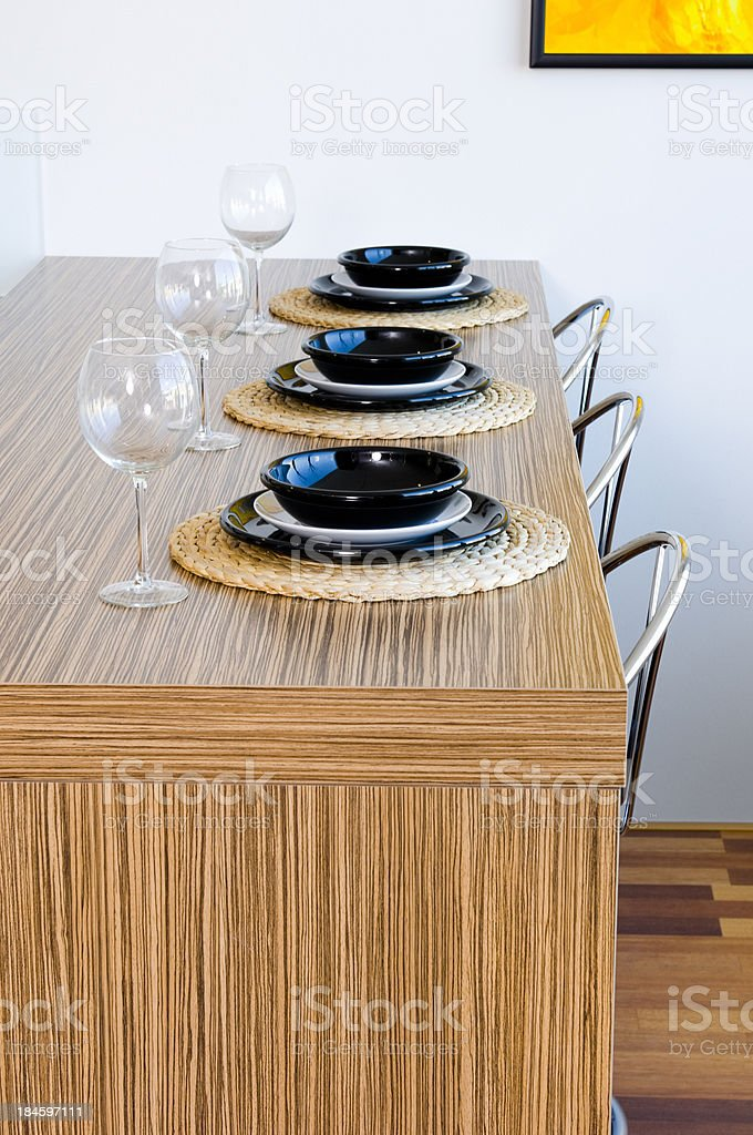 place setting on counter top stock photo