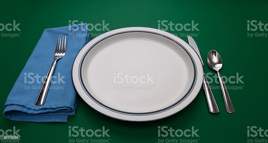 Place Setting on Green royalty-free stock photo