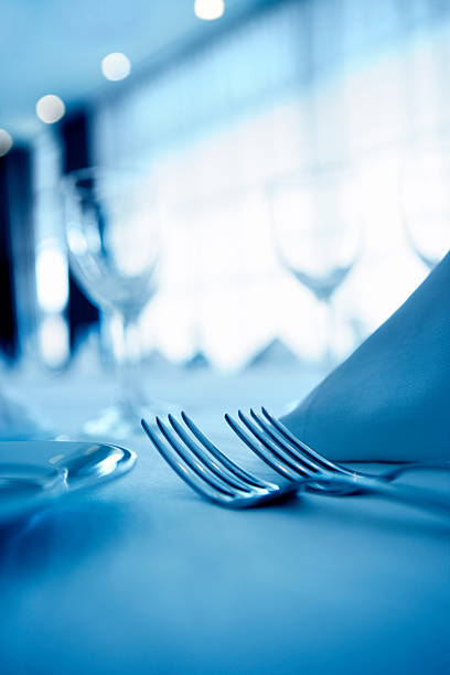 place setting - blue table setting stock photos and pictures