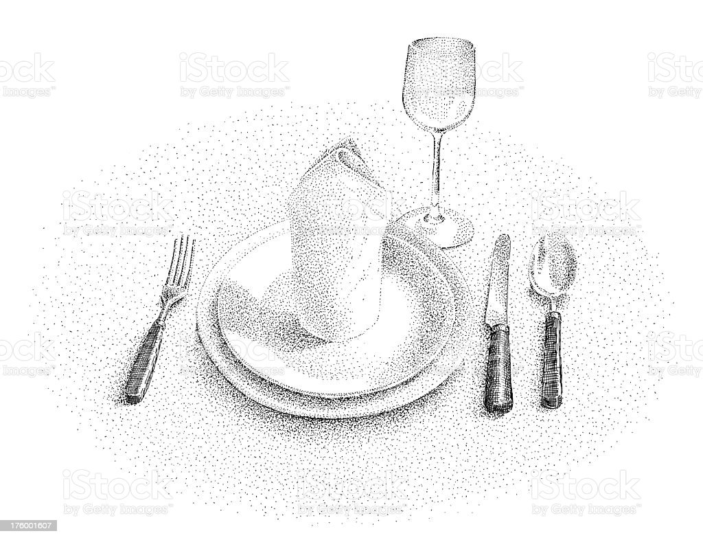 place setting, vintage style - ink drawing stock photo