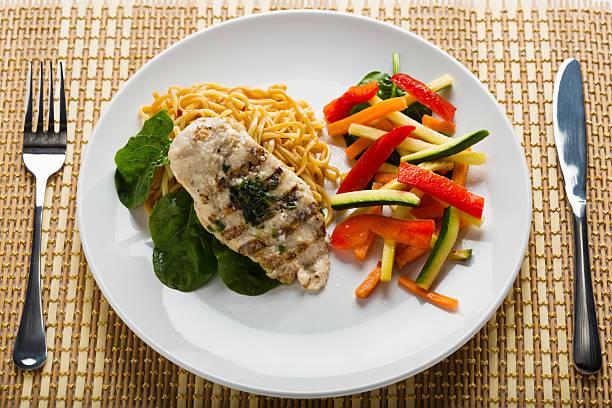 gedeck mit basilikum-aromatisierten angebratenes hühnchen und gemüse stir-fry - gesunde huhn pasta stock-fotos und bilder