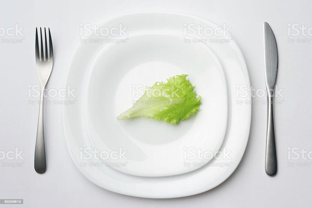 place setting with lettuce leaf 2 royaltyfri bildbanksbilder