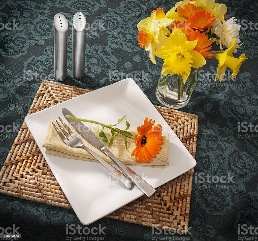 Place setting with spring flowers royalty-free stock photo
