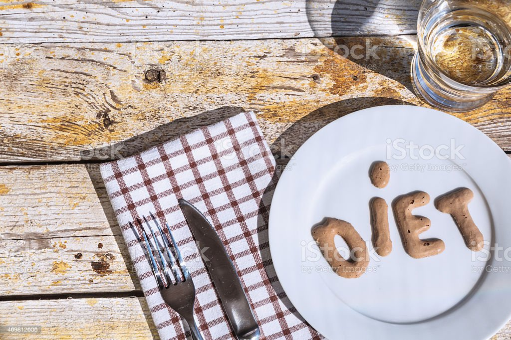 "Place setting  with the word ""diet"" stock photo"