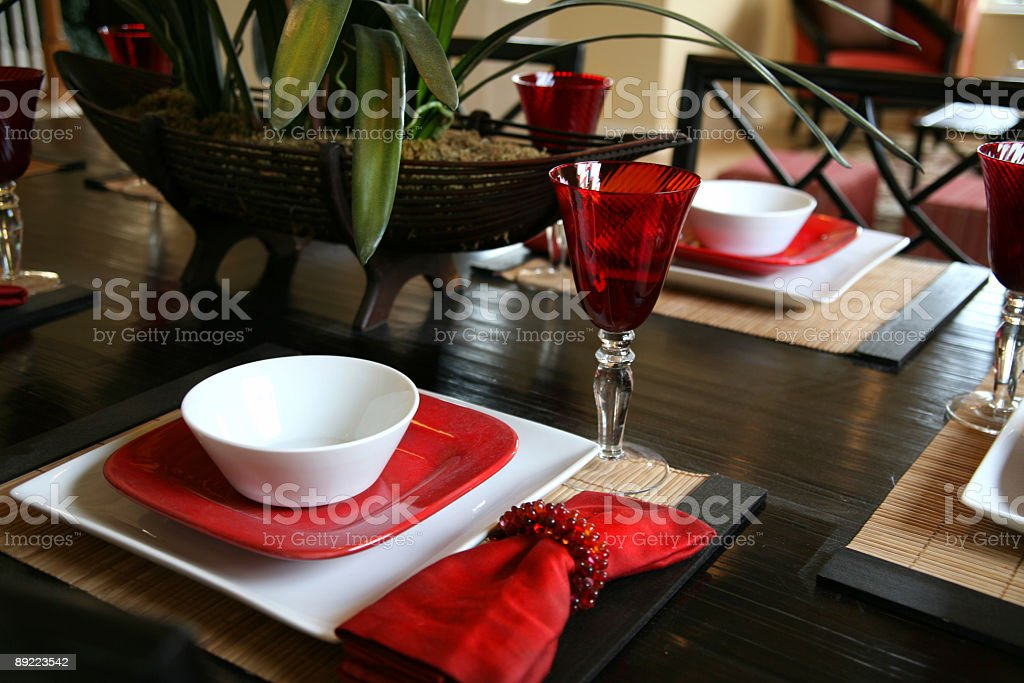 Place Settings; Wooden Dining Room Table royalty-free stock photo