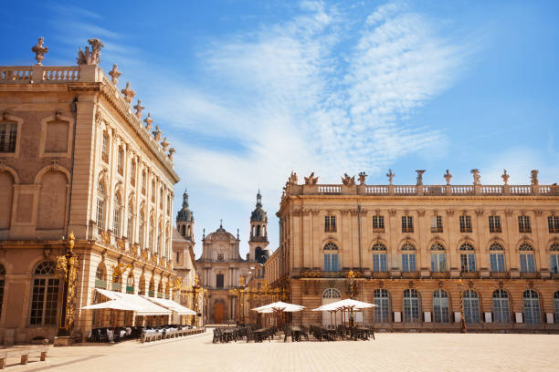Place Stanislas and City Hall buildings stock photo