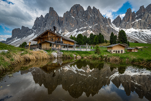 istock Place to relaxing - Dolomites - Mountains - Reflection - Geisler Alm 1160636949