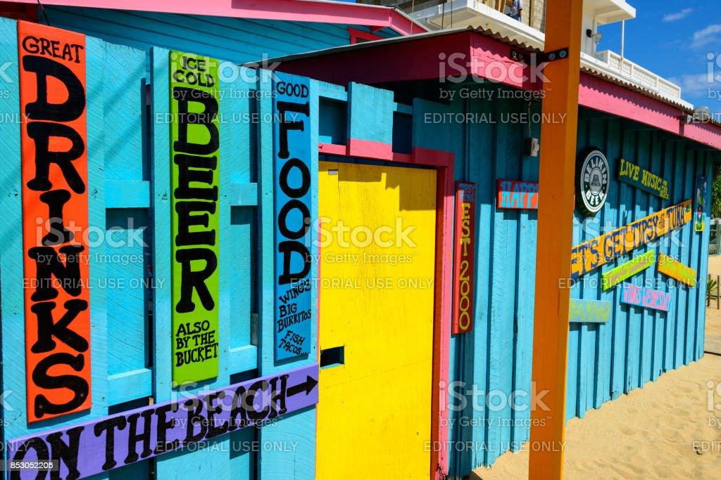 Placencia beach huts stock photo