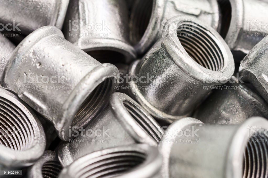 Placer connecting fittings for metal pipes stock photo