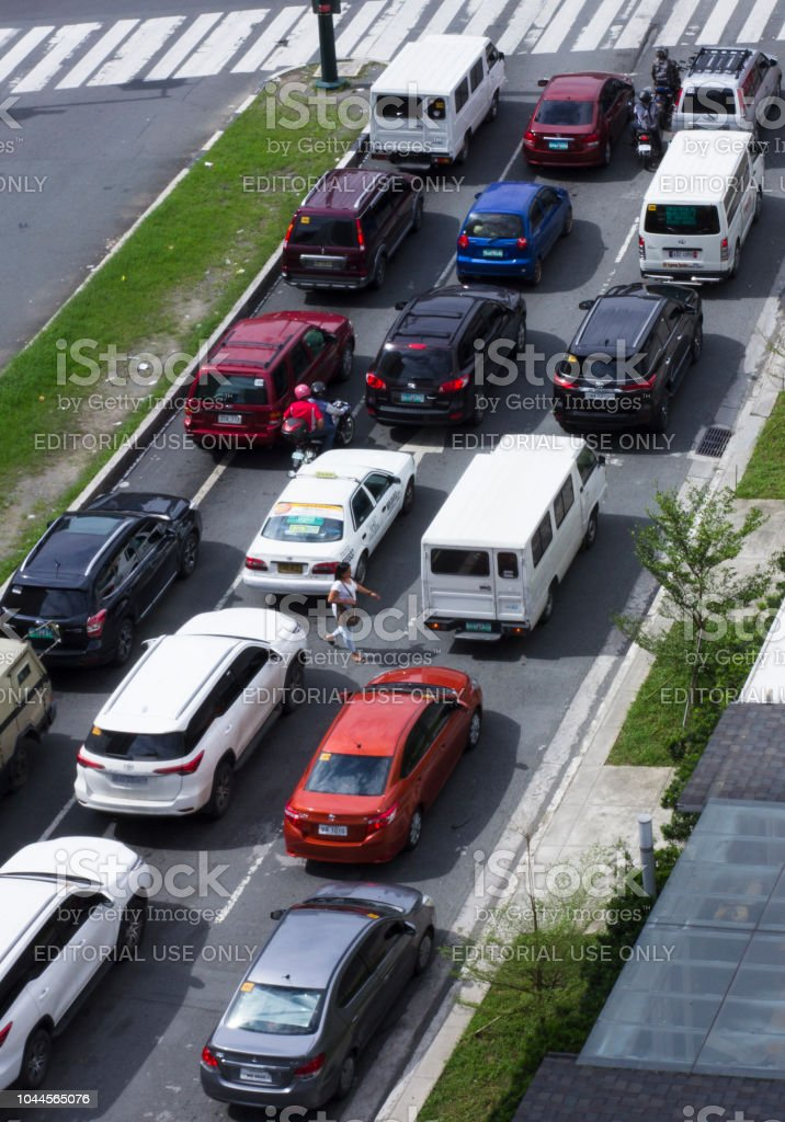 BGC; Places; Famous; Modern; Urban; City; Bonifacio Global City; Traffic; Road; Streets; Cars; Vehicles; Motion; stock photo
