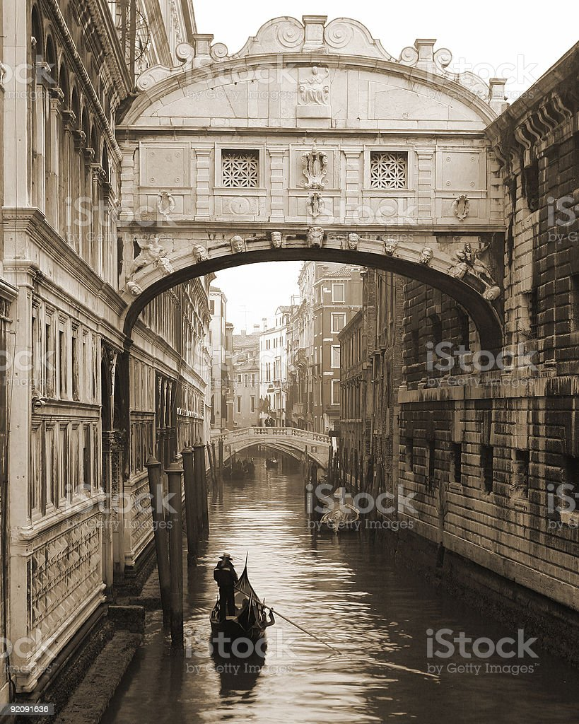 Places - Italy, Venice, Gondola under Bridge of Sighs royalty-free stock photo