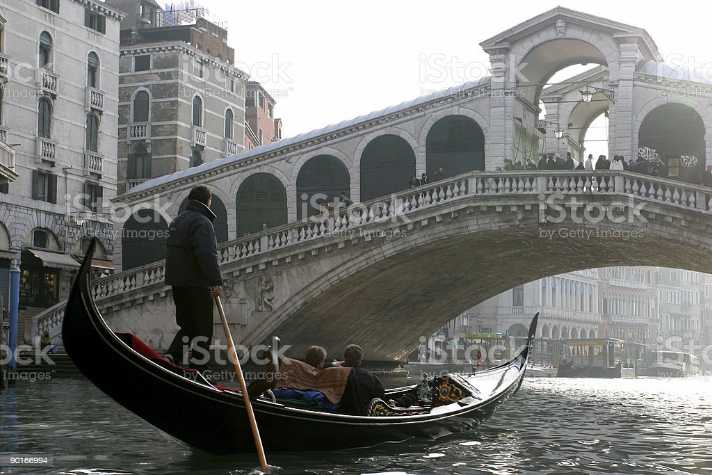 Places - Italy, Venice, Under the Great Rialto Bridge royalty-free stock photo