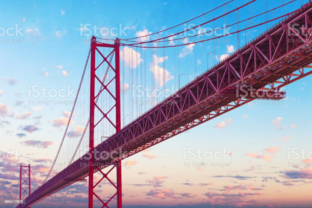 Places of interest in Lisbon, Portugal. Bridge of April 25 and sunset royalty-free stock photo
