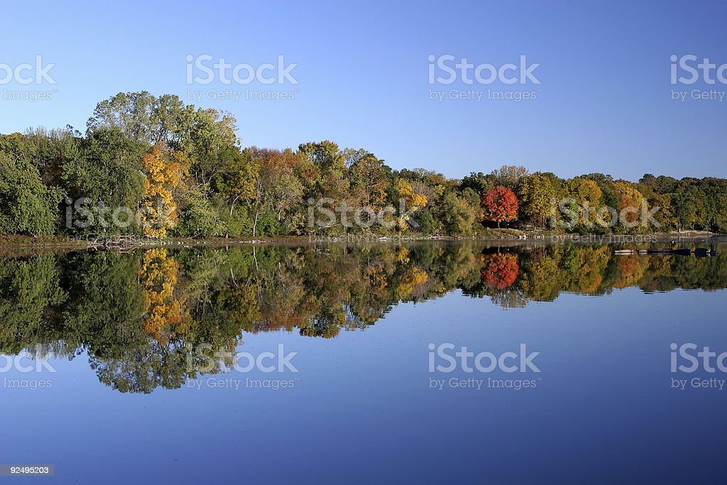 Placid River and Autumn Foliage royalty-free stock photo