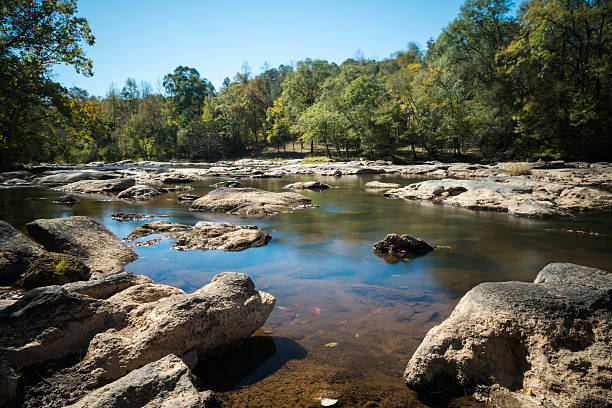 placid river with many rocks and forest on the banks the South Tyger River in South Carolina with rocks and reflection in the foreground and trees in the background spartanburg stock pictures, royalty-free photos & images