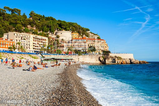 NICE, FRANCE - SEPTEMBER 25, 2018: Plage Blue Beach is a main beach in Nice city, Cote d'Azur region in France
