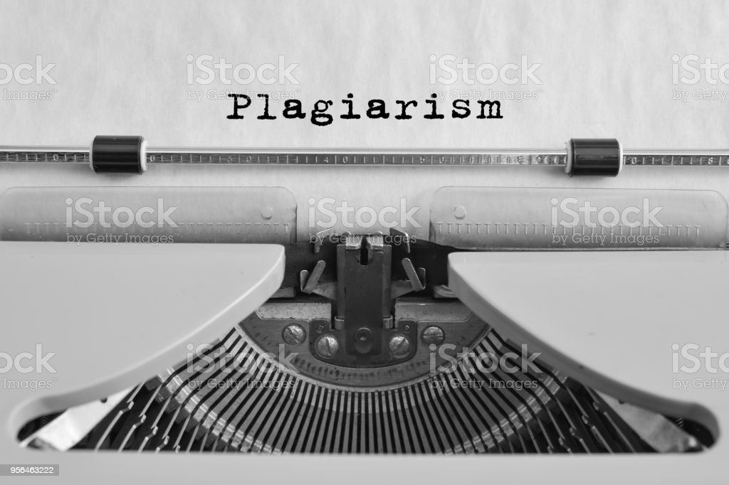 Plagiarism typed on an old typewriter. stock photo