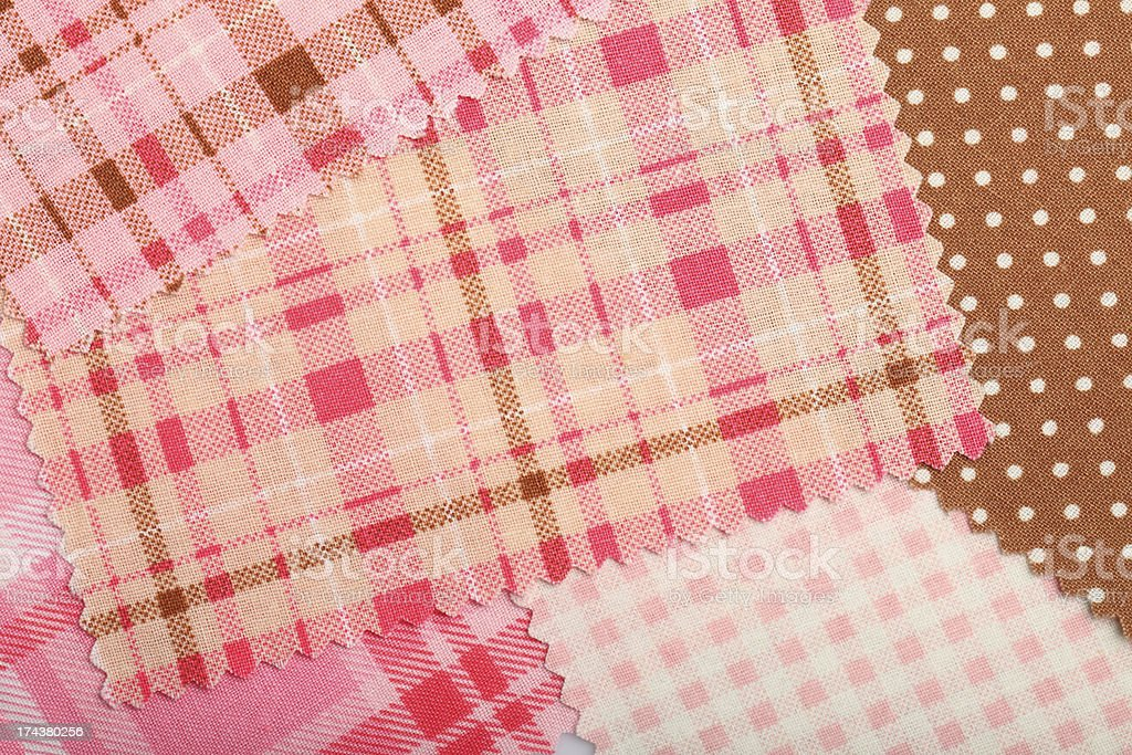 Plaid and Dot Fabric Swatch Background royalty-free stock photo