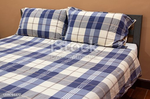 Plaid Bed with Pillow in The Bedroom Interior