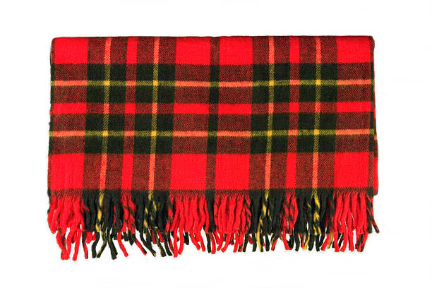 Plaid Blanket Bright and colorful red plaid blanket with tassels. plaid stock pictures, royalty-free photos & images