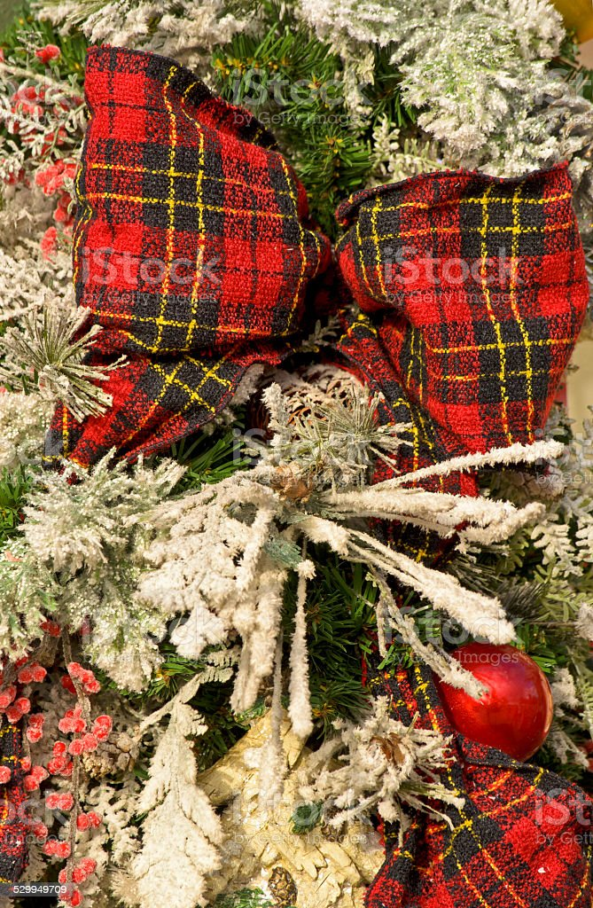 Plaid Christmas Bow stock photo