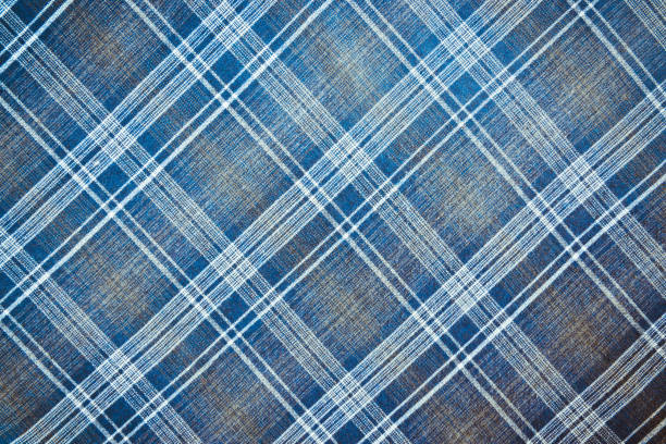 Plaid material Texture of checkered fabric in blue throughout the entire plane of the frame plaid stock pictures, royalty-free photos & images