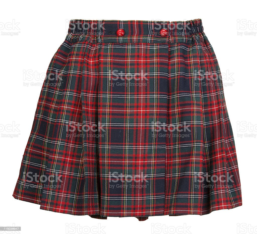 Plaid red feminine skirt stock photo
