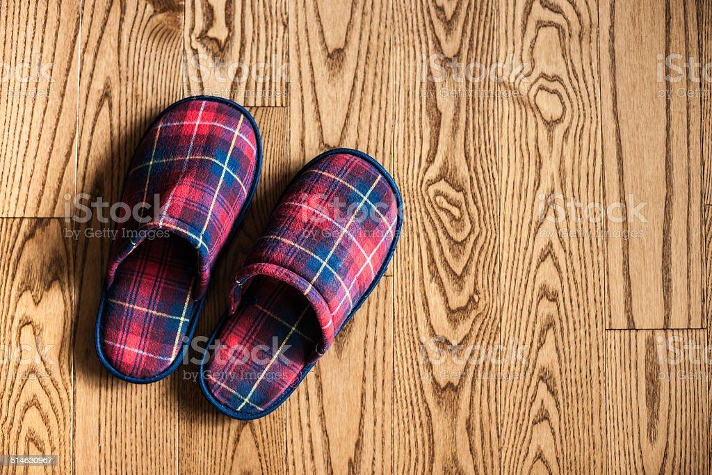 Plaid Slippers stock photo
