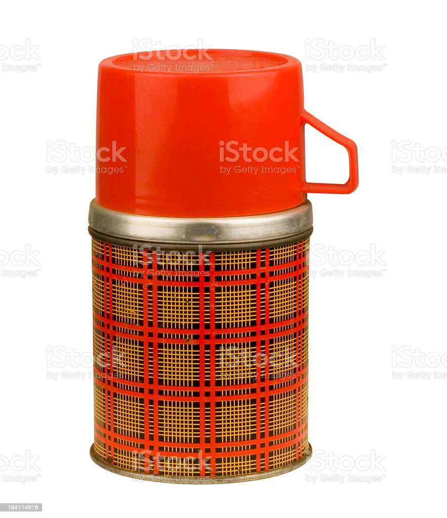 Plaid Thermos (w/CLIPPING PATH) stock photo