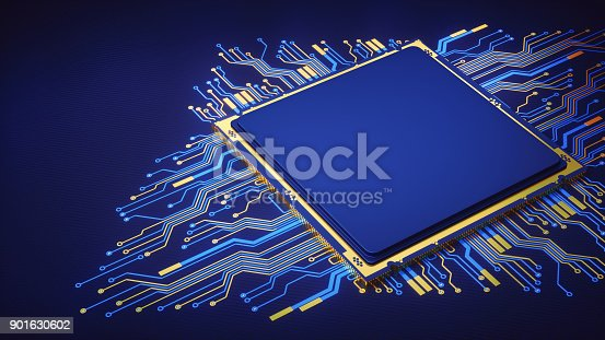 A simple design of an artificial CPU with circuitry isolated on a dark blue surface.