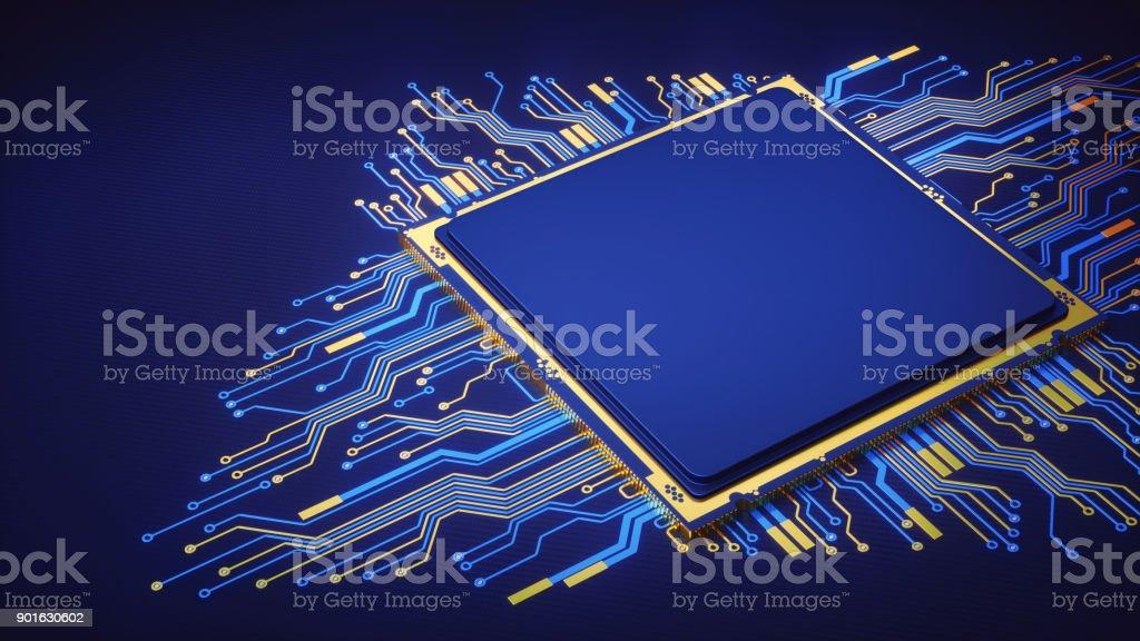 Einfache abstrakte CPU mit Schaltung – Foto