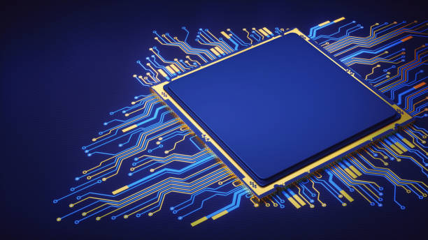 Plain Abstract CPU With Circuit stock photo