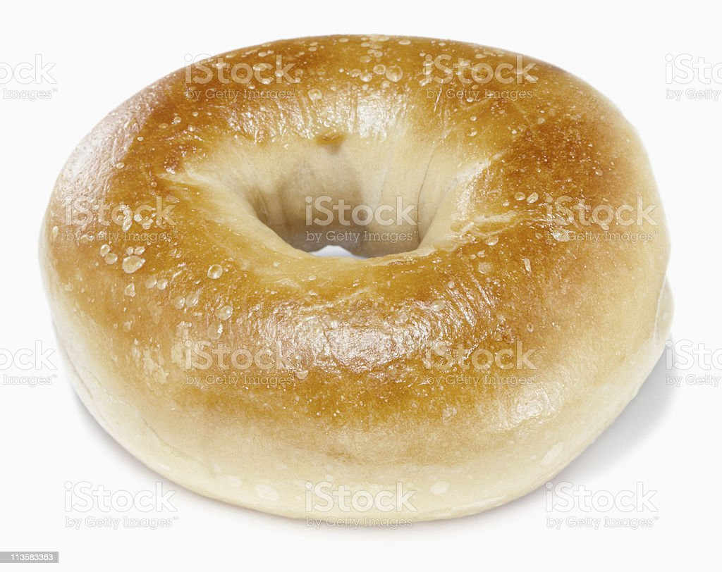 Plain bagel on a white background stock photo